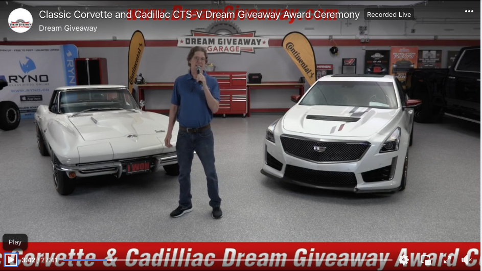 Dream Giveaway Handed out a Classic Corvette and a Cadillac CTS-V on the Same Day!